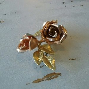 Jewelry - Dainty Gold Jewelry signed rose pin brooch